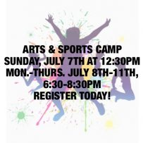Arts & Sports Camp – July 7th-11th, 2019